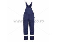 Pantaloni de iarna cu pieptar si benzi reflectorizante PILZEN BLUE