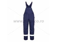 Pantaloni de iarna cu pieptar si benzi reflectorizante PILZEN BLUE 9062B-L