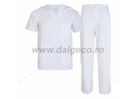 Costum alb din tercot Meda 90833-A-L