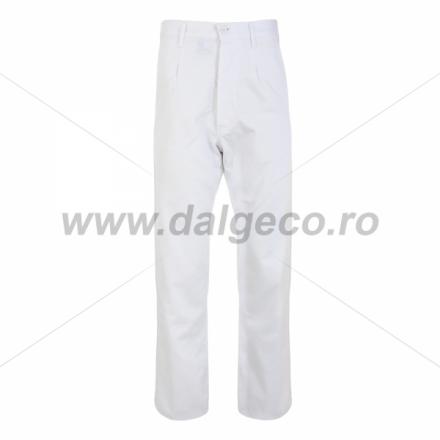 Pantaloni standard din bumbac TEO WHITE 90812 A-L