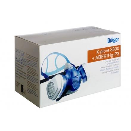 Set protectie chimica Drager X-plore 3300 filtru A1B1E1K1 Hg P3